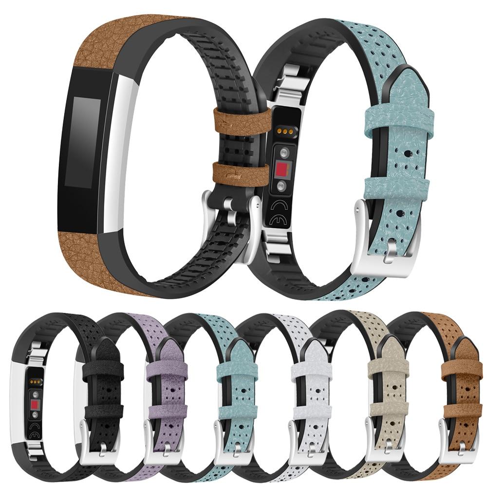 Novo sportstyle joyozy couro genuíno + tpu pulseira pulseira de pulseira para fitbit alta/alta hr substituição alta qualidade pulseiras