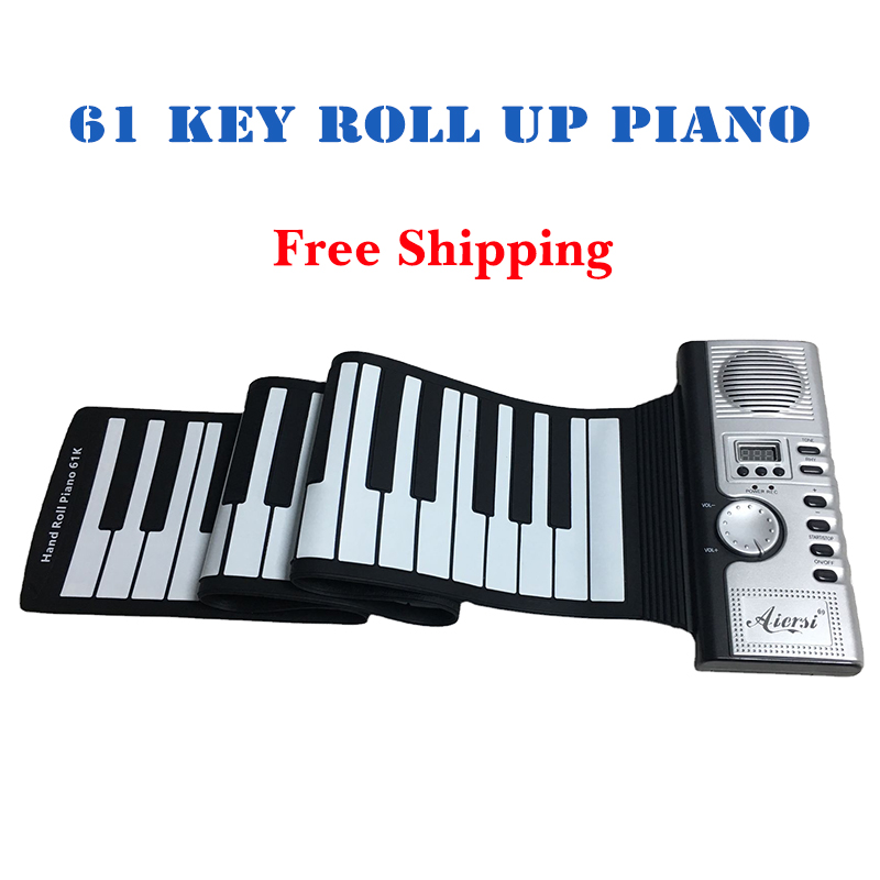 Aiersi 49 61 Keys Roll Up MIDI Flexible Piano Silicone Portable Foldable Soft Keyboard Electronic Piano