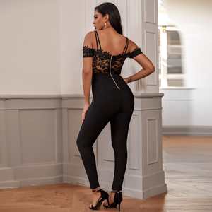 Image 3 - Ocstrade Rayon Nero Dalla Fasciatura Della Tuta 2020 Nuovo di Modo della Donna Body E Pagliaccetti Sexy Lace Bodycon della Fasciatura Della Tuta per il Partito di Sera