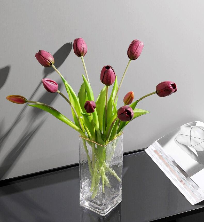 JAROWN 5 Heads Tulip Artificial Flower Real Touch Artificial Bouquet Fake Flower for Wedding Decoration Flowers Home Garden Decor (120)