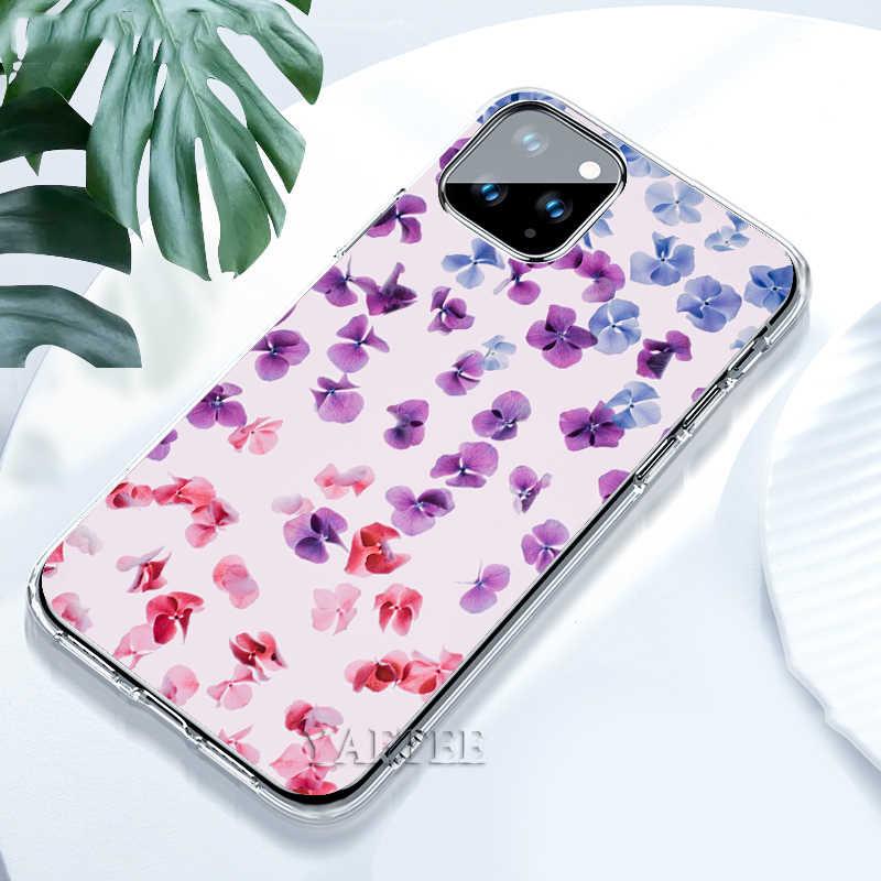 Simple ลาเวนเดอร์ดอกไม้สีม่วง TPU สำหรับ iPhone 11 PRO MAX X XR XS MAX 7 8 PLUS 6 6S PLUS 5 5S SE Soft ซิลิโคน COVER