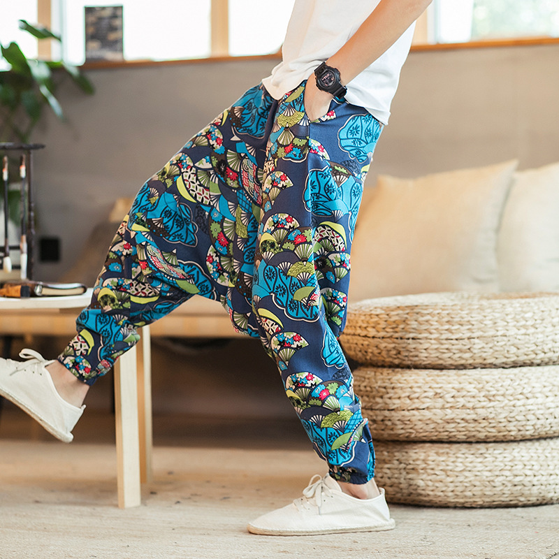 19 Spring And Summer New Style Chinese-style Large Size Casual Pants Men's Loose-Fit Harem Pants Flax Ankle Banded Pants Japanes