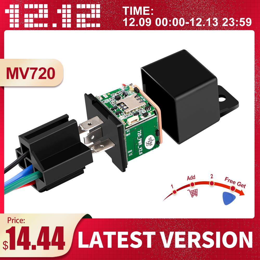 Latest Version MV720 Car Relays GPS Tracker Car Shock Alarm GPS GSM Locator Remote Control Anti-theft Monitoring Cut Off Oil