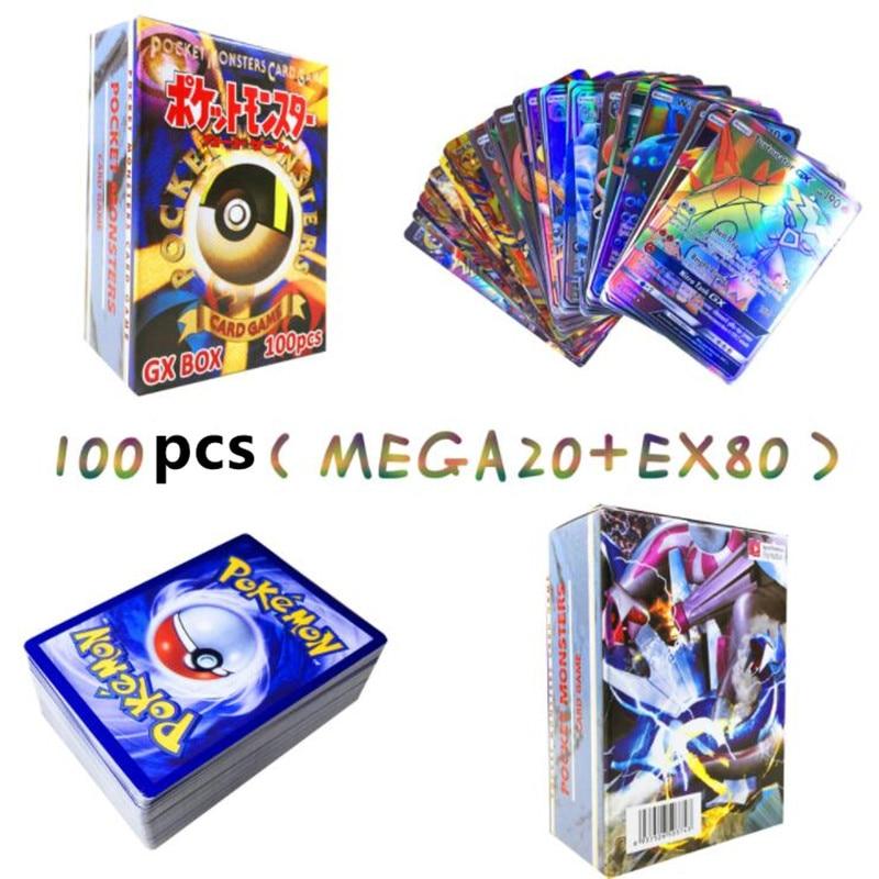300 шт GX 20 60 100 шт Мега Сияющие карты игра битва карт торговые карты игра детская игрушка «Покемон» - Цвет: 20MEGA 80EX