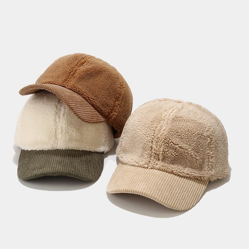 MYALICE Winter Women Peaked cap lambswool Baseball Hat Keep warm Plus Velvet Thicken Casual Outdoor travel Gift Wholesale