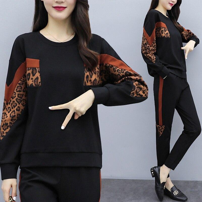 Plus Size Leopard Print Patchwork Tracksuit For Women Outfits 2 Piece Set Clothes 2019 Winter Autumn Top And Pants Suits Clothes
