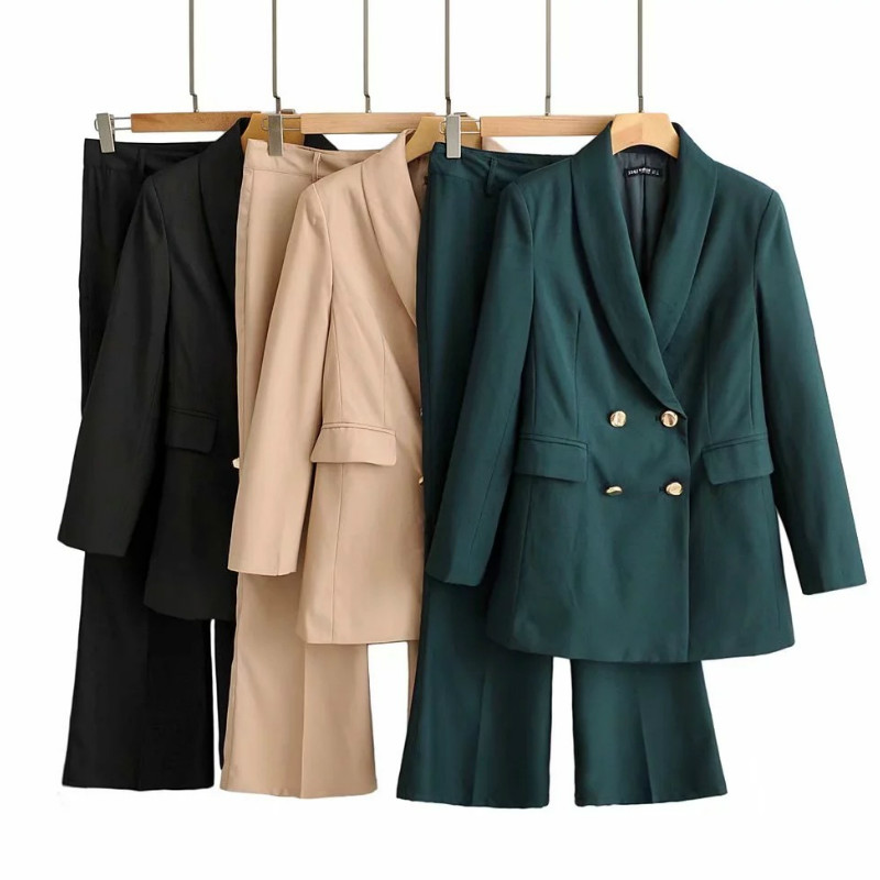 Casual Vintage Women's Suits New Autumn Solid Color Long-sleeved Ladies Office Suit Casual Micro Bell Pants Suit Two-piece Sets