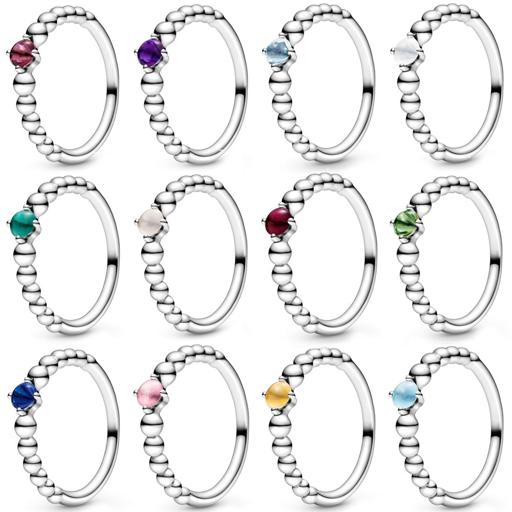 2019 New 100% 925 Sterling Silver Pre-Valentines 2020 My True Colours Birthstone Collection Ring Fit Original Fashion Jewelry