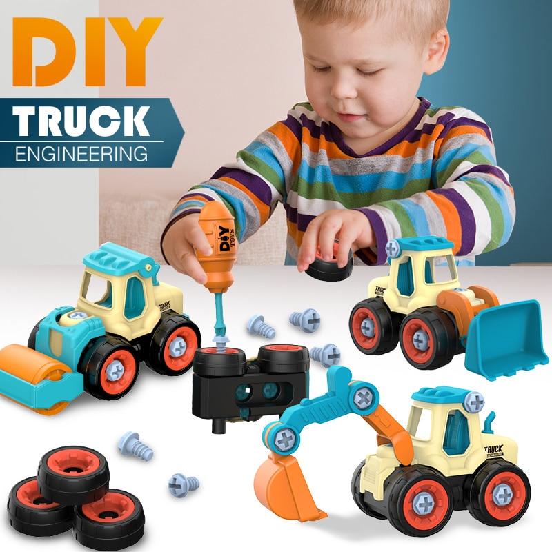 Mutter Demontage Laden Entladen Engineering Lkw Bagger Bulldozer Kinder Schraube Jungen Kreative Werkzeug Bildung Spielzeug Auto Modell