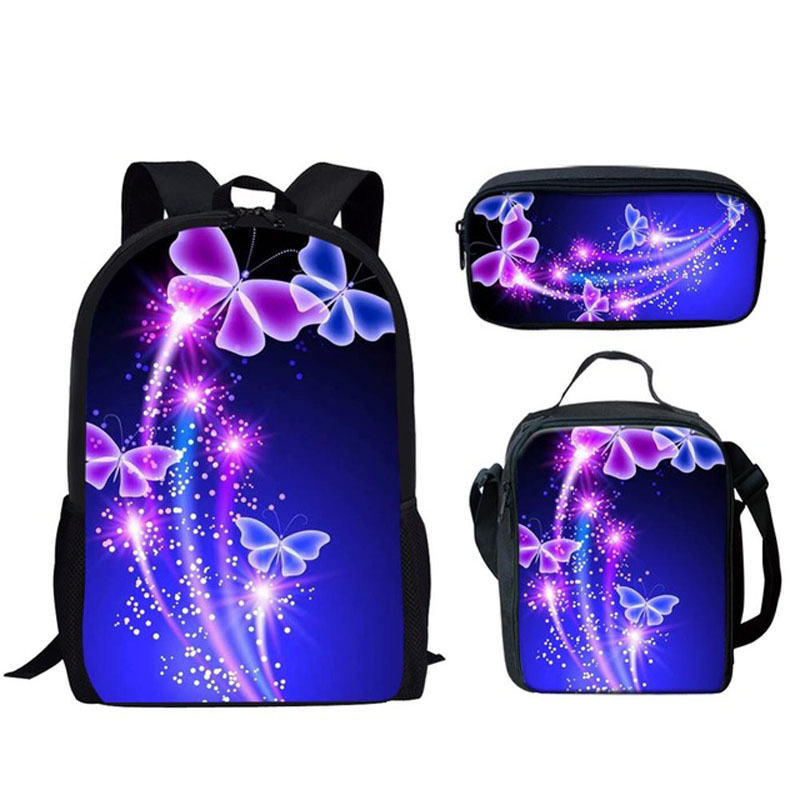 Custom Butterfly 3D Print Set School Bags For Teen Girls Primary 16 Inch Children Large Backpack School Kids Bag Student Bagpack