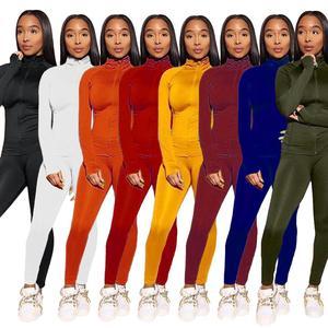 Image 4 - Casual primavera 2 peça conjunto feminino jogging femme sportwear ternos de suor feminino topo de colheita + calças compridas outfits sólido 8 cores