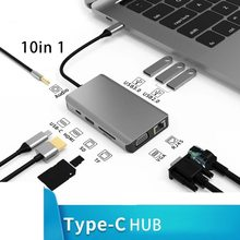 TFZHN Docking Station with USB Type C Multi-function Hub Usb Hub 10 in 1 Hub Converter to HDMI 4K VGA Adapter adapter RJ45 Lan E