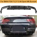 Carbon Faser Heckschürze Diffusor Lippe für BMW 6 Series F06 F12 F13 M Sport M6 2012 2016 Cabrio 640i 650i Hinten Diffusor Lip-in Stoßstangen aus Kraftfahrzeuge und Motorräder bei