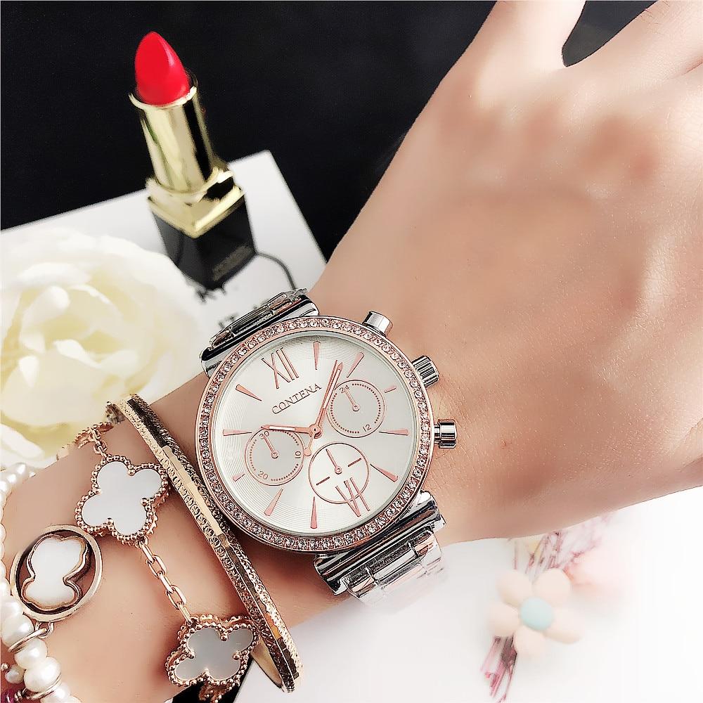 CONTENA  Luxury Top Brand Fashion Bracelet Watch 2020 Women Watches  Quartz Watch Lady Stainless Steel Clock Reloj Mujer