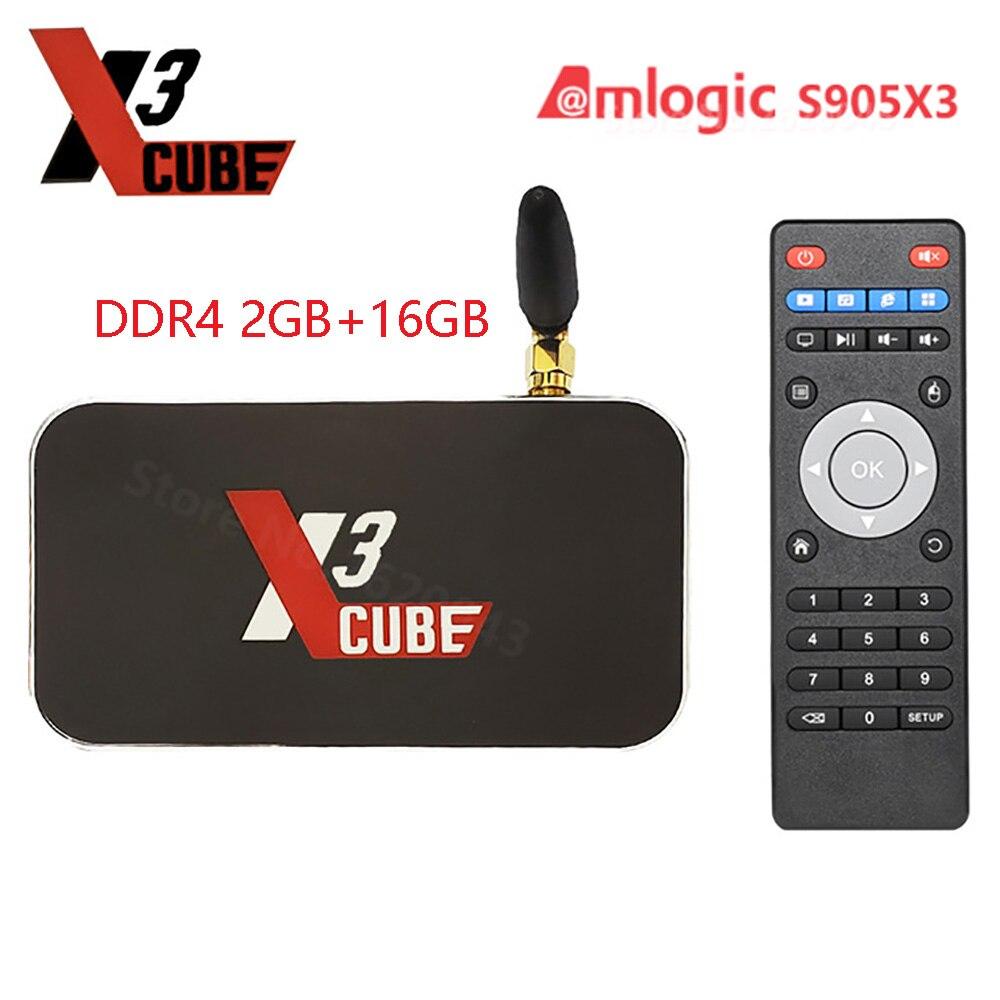 X3 CUBE Upgrade X2 CUBE Android 9.0 Smart Tv Box Amlogic S905X3 DDR4 2GB 16GB 2.4G 5G Wifi 1000M LAN 4K Media Player Vs X3 Pro