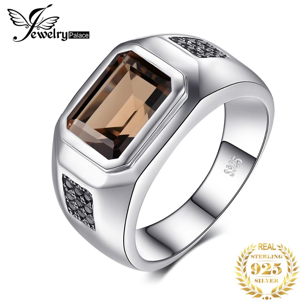 Jewelrypalace Men's Natural Smoky Quartz Anniversary Wedding Ring Band  925 Sterling Silver Rings Gemstone Jewelry Making Gifts