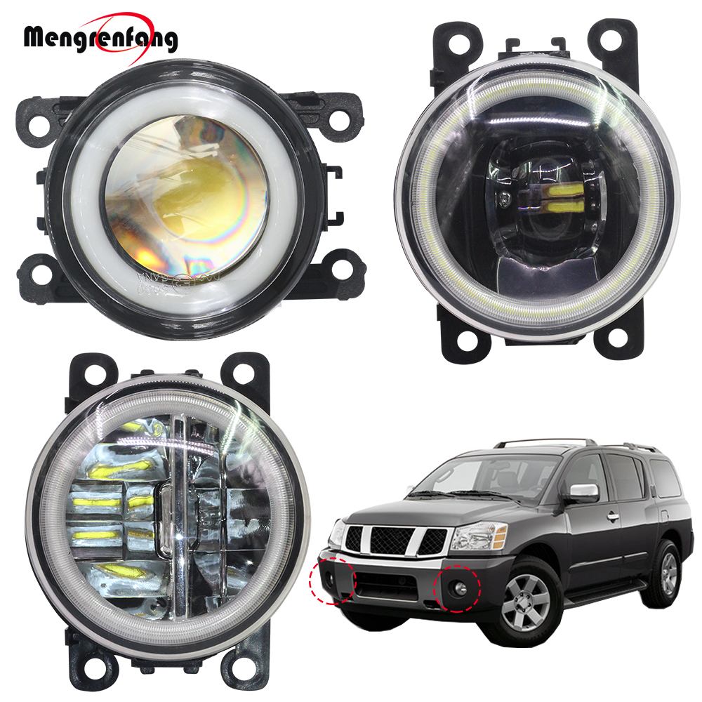 2 Pieces Car Accessories Fog Light LED Halo Ring Angel Eye DRL Daytime Running Lamp 12V For Nissan Armada 2003-2008