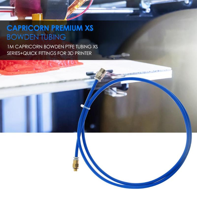 1M Capricorn Bowden PTFE Tubing XS Series+1Pcs Quick Fittings + 1Pcs Straight Pneumatic Fitting Push To Connect For 3D Printer