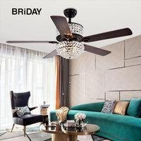 52 inch Crystal LED Ceiling Fan Light Country Retro European Style Iron Leaf Fans Lights ventilator lamp bedroom decor ceeling
