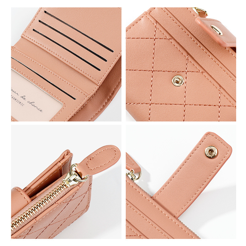 women wallets ladies silm mini purses card holder clutch zipper coin pocket short small purse plaid portefeuille lady carteira