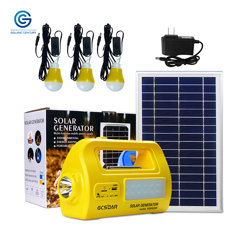 GCSOAR Portable Generator Kit Solar Lighting System With Power Solar Panel LED Bulb USB Output Port For Emergency Backup Power
