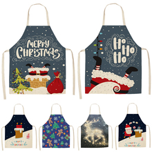 Kitchen Aprons Pinafore Christmas-Decoration Linen Home-Cooking Women Waist-Bib Baking