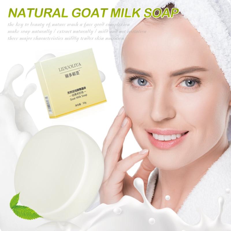 1PC Goat Milk Handmade Soap Removal Acne Blackhead Smooth Skin Tightening Pores Deep Cleaning Whitening Moisturizing Soap TSLM1