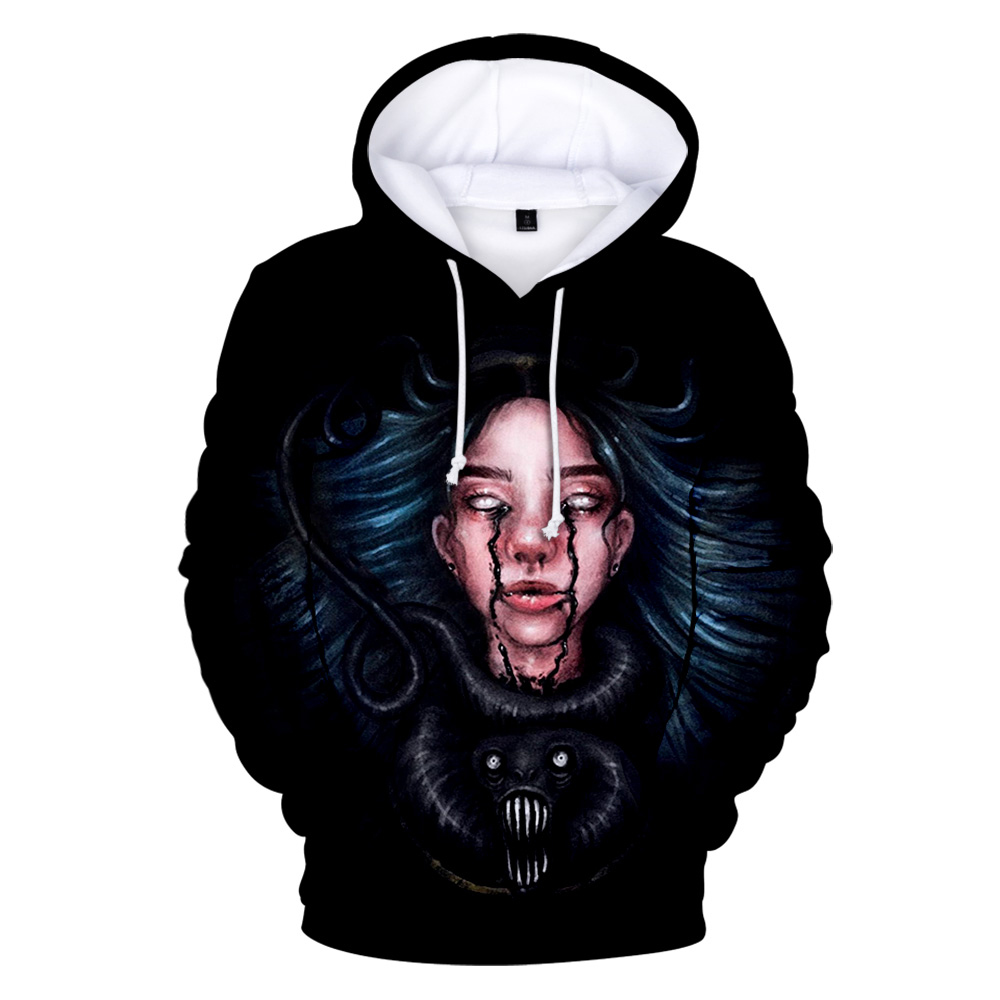 American Singer Billie Eilish Man's 3D Hoodie Fashion Woman's Sweatshirt Children's Pullover Boys / Girls Spring Sportswear Tops