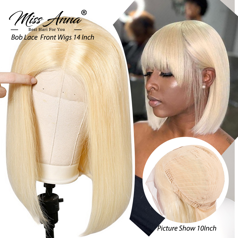 MissAnna Peruvian Hair Straight 613 Blonde Short Bob Transparent Lace Wigs 13x6 Lace Front Human Hair Wigs For Black Women