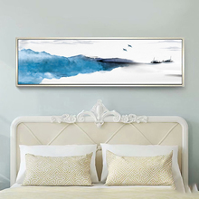 Yuke Art Chinese Style Watercolor Blue Mountain Flying Birds Canvas Painting Landscape Posters Print Wall Decor For Living Room