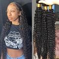 Глубокая волна пряди вьющиеся волосы пряди Черный Для женщин человеческие волосы пряди 30 дюймов 1 3 4 бразильские вьющиеся волосы для наращи...