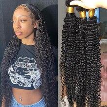 Mèches Deep Wave brésiliennes naturelles bouclées, 30 pouces, 1 3 4, Extensions de cheveux pour femmes noires