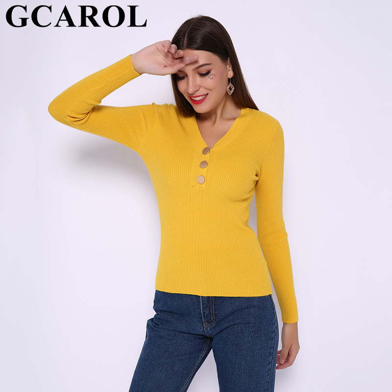 GCAROL New Women V Neck Buttons Yarn Sweater Stretch Sexy OL Jumper Streetwear Bright Color Knitted Pullover Tops In 8 Colors