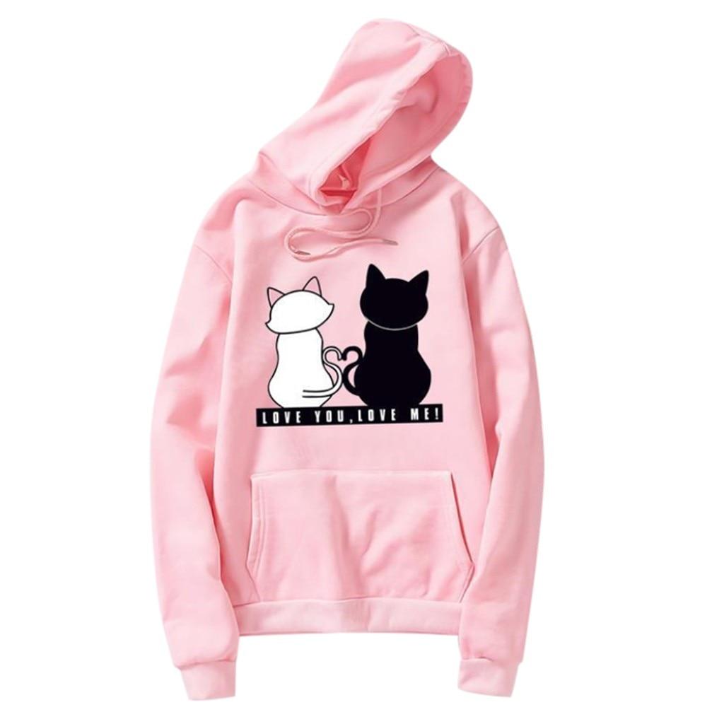 Jaycosin Fashion Autumn Casual Female Loose O-Neck Cat Printed Hoodies Sweatshirt Long Sleeve Comfortable Pullover Blouse 14#10