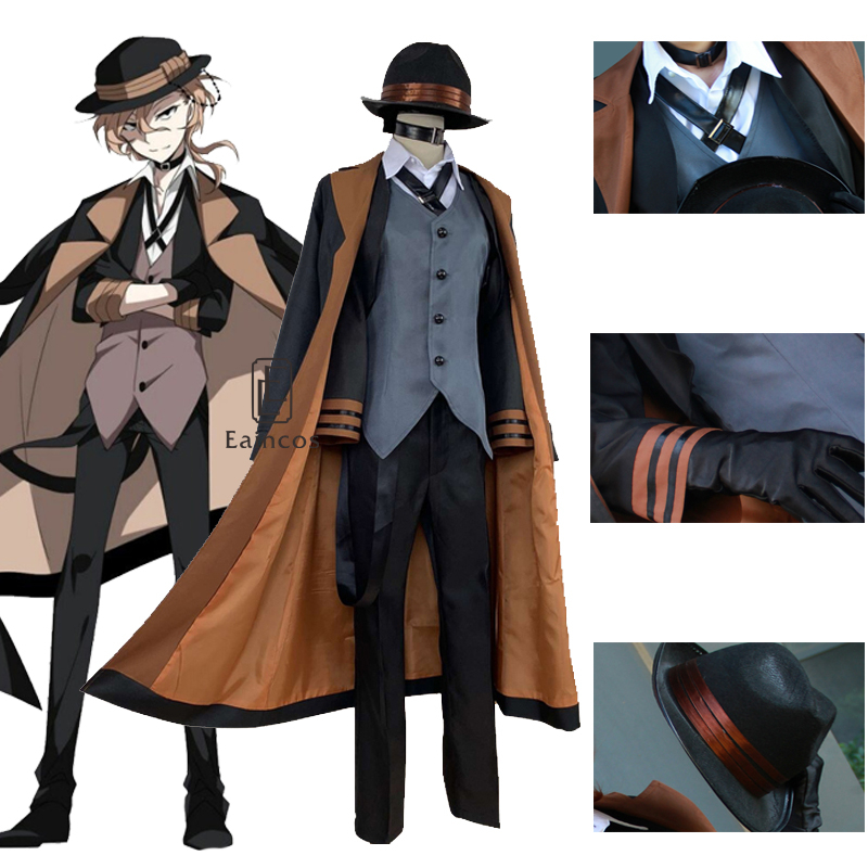 Anime bungou cães vadios chuya nakahara cosplay traje peruca porto máfia dia das bruxas estilo britânico jaquetas trajes