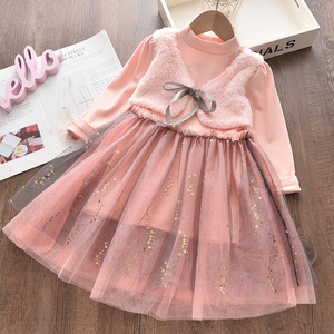 Menoea 2-7y Girls Autumn Dress 2020 Princess Style Children Pink Wool Flower patch Dress Bow Kids Mesh Clothes Party Dresses(China)