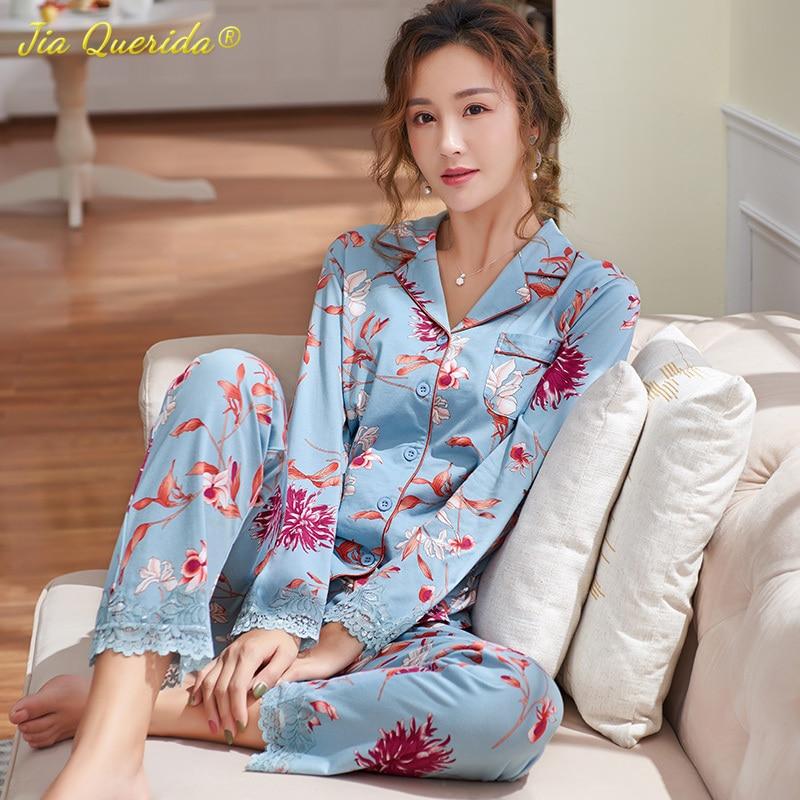 Luxury Ladies Pajamas 2020 New Long Sleeve Viscose Modal Sleepwear Plus Size 3xl Floral Printing Skin Friendly Lace Cuff Pajamas