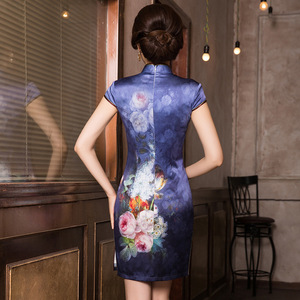 Image 3 - 2019 précipité été nouveau classique imprimé soie Cheongsam tempérament dame A entreprend de cultiver la moralité courte Qipao robe