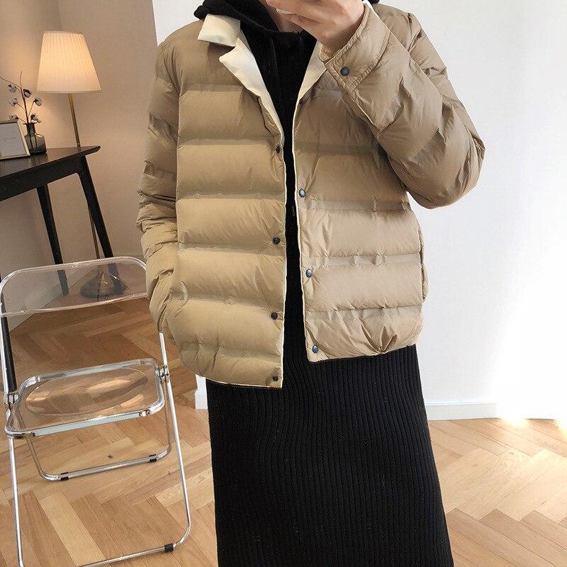 Abrigo de invierno para mujer 2019 abrigo de manga larga con cuello de pato blanco con plumón azul cálido Casaco femenino abrigo de gran tamaño para mujer - 3