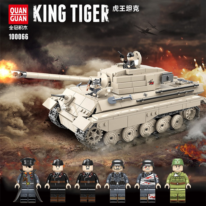 978PCS WW2 Military Tiger King Tank Building Blocks Legoing Military WW2 Tank Soldier Weapon Army Bricks Kids Toys For Children