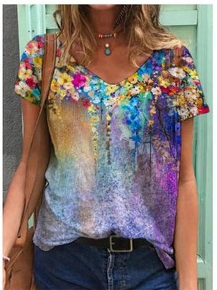 Popular women's printed short-sleeved T-shirt shirt
