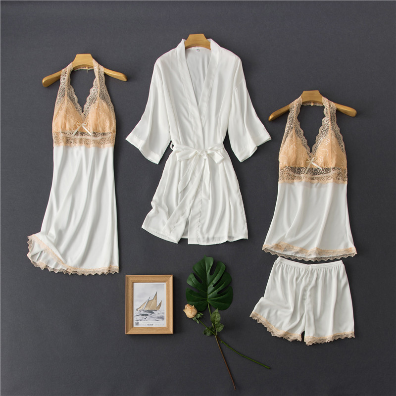 Daeyard Silk Pajamas For Women Contrast Color Pyjamas Sexy Lace Trimmed Cami And Shorts 4 Pcs Robe Pijama Set Sleepwear Homewear