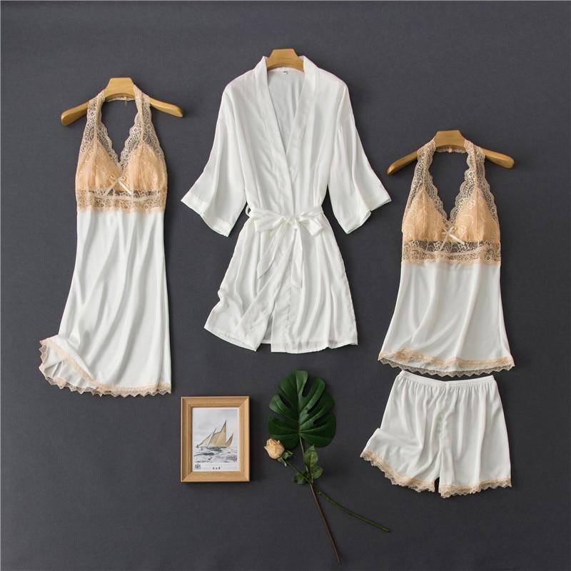 Pijamas de Seda Sexy com Rendas e Shorts Roupa de Dormir Roupa de Casa Daeyard Femininas Contraste Peças Robe Conjunto Cor 4