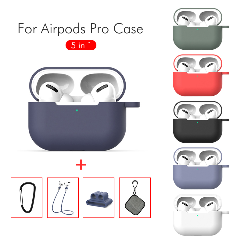 For Apple <font><b>AirPods</b></font> Wireless Bluetooth Earphone Accessories <font><b>5</b></font> <font><b>in</b></font> <font><b>1</b></font> Outfit Silicone <font><b>Case</b></font> Anti-lost Strap Storage Box Sleeve Earbuds image