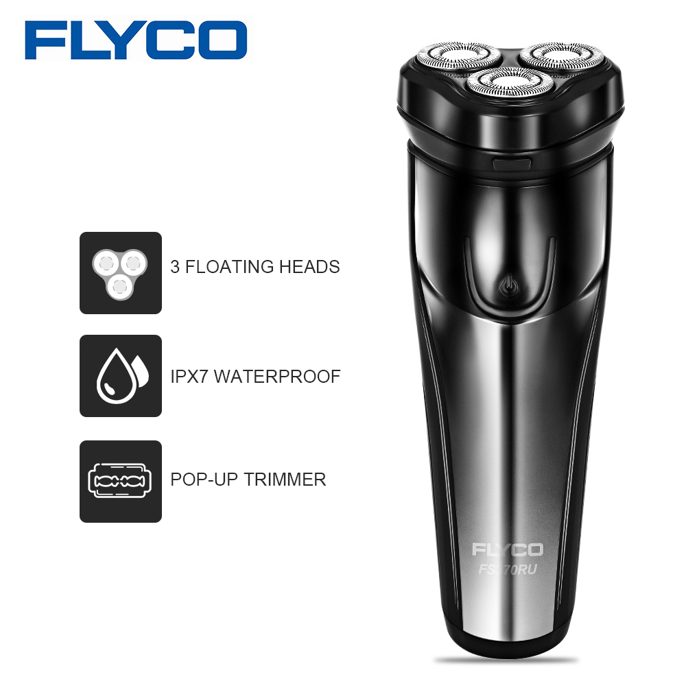 Flyco Electric Shaver For Men Washable Rechargeable Shaving Machine Beard Razor Blade Hair Trimmer FS370 With 3 Floating Heads
