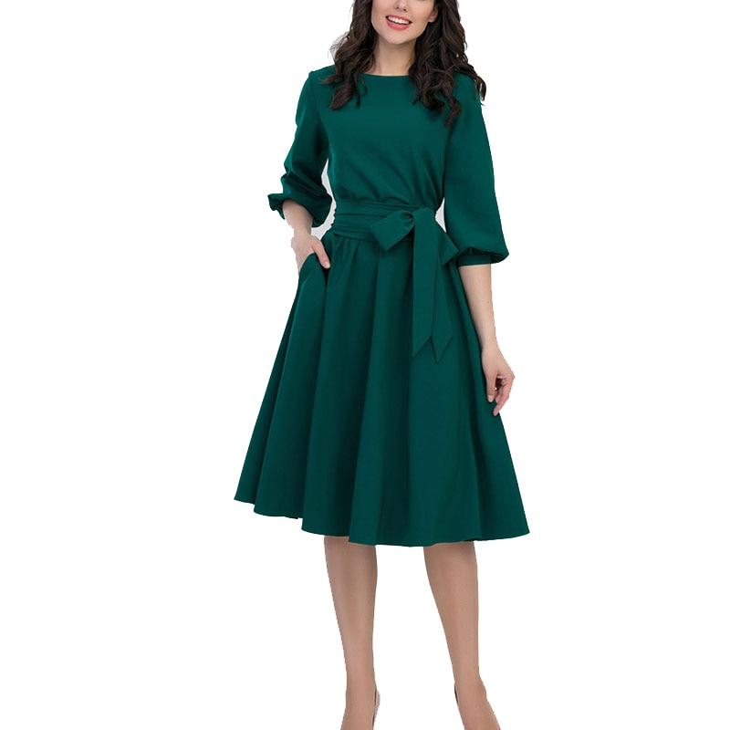 2019 New Women Fashion Vintage Dress Summer Autumn Green O Neck Elegant A Line Dresses Puff Innrech Market.com