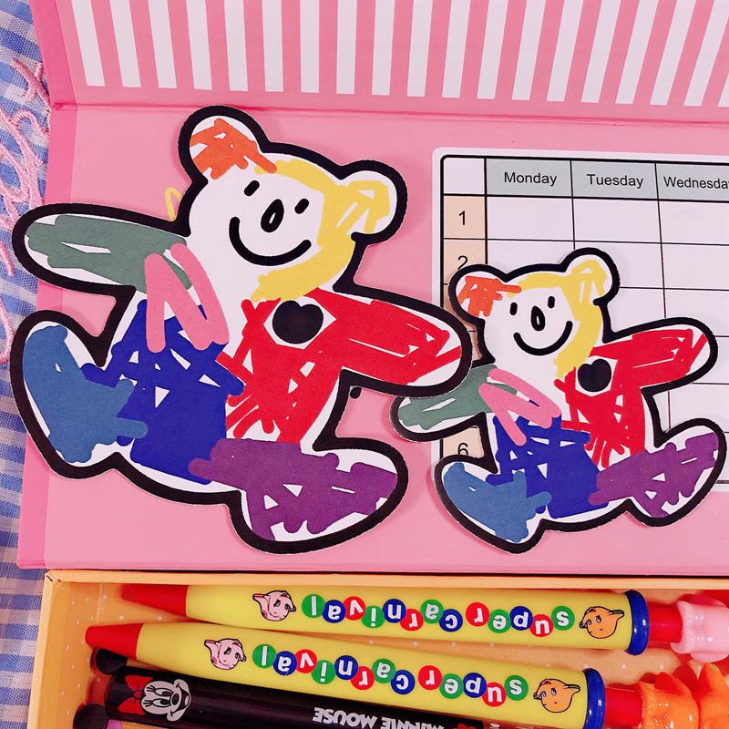 Ins Popular Color Crayon Bear Waterproof Sticker Cartoon Kawaii Notebook Suitcase Korean Stickers For Children