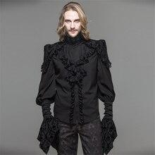 Devil Модные мужские стимпанк готические вечерние блузки викторианские двухслойные черные рубашки с принтом черепа панк смокинг рубашки