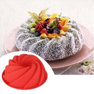 Image 1 - 3D מטבח אפיית עובש עוגת סיליקון צורת מערבולת גדולה כלי טופס עבור מאפיית עוגת עוגת עובש בישול תבנית אפייה פאן
