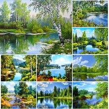 Сделай Сам 5d алмазная Картина Дерево пейзаж полный дрель квадратная
